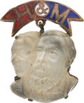 Political:Ferrotypes / Photo Badges (pre-1896), Harrison & Morton: Jugate Moonstone Badge. ...