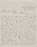 Western Expansion:Cowboy, Elizabeth Custer: An Important Letter Written to Her DiscussingEfforts to Recover his Personal Articles after Little Big Horn...