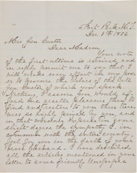 Elizabeth Custer: An Important Letter Written to Her Discussing Efforts to Recover his Personal Articles after Little Bi...