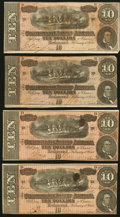 Confederate Notes:1864 Issues, T68 $10 1864. Four Examples.. ... (Total: 4 notes)