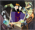 Animation Art:Production Cel, Snow White and the Seven Dwarfs Evil Queen Production Cel with Painted Presentation Background (Walt Disney, 1937)....