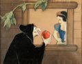 Animation Art:Production Cel, Snow White and the Seven Dwarfs Old Hag with Apple and SnowWhite Production Cel Courvoisier Setup (Walt Disney, 1937)...