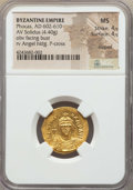 Ancients:Byzantine, Ancients: Phocas (AD 602-610). AV solidus (4.40 gm). NGC MS 4/5 -4/5, clipped....