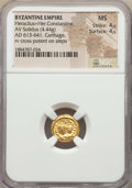 Ancients:Byzantine, Ancients: Heraclius (AD 610-641) and Heraclius Constantine (AD613-641). AV solidus (4.44 gm). NGC MS 4/5 - 4/5....