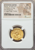 Ancients:Byzantine, Ancients: Phocas (AD 602-610). AV solidus (4.33 gm). NGC MS 4/5 -3/5, clipped. ...