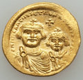 Ancients:Byzantine, Ancients: Heraclius (AD 610-641) and Heraclius Constantine (AD613-641). AV solidus (4.40 gm). About XF, scratches....