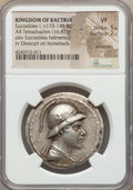 Ancients:Greek, Ancients: BACTRIAN KINGDOM. Eucratides I Megas (ca. 170-145 BC). ARtetradrachm (16.82 gm). NGC VF 5/5 - 2/5, scratches....
