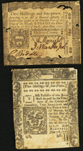 Colonial Notes:Mixed Colonies, Connecticut June 7, 1776 2 Shillings 6 Pence Slash Cancel. Fine..Pennsylvania April 3, 1772 2 Shillings 6 Pence. Very Fin... (Total:2 notes)