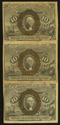 Fractional Currency:Second Issue, Fr. 1244 10¢ Second Issue Vertical Strip of Three Very Fine-Extremely Fine.. ...