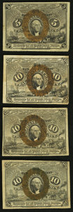 Fractional Currency:Second Issue, Fr. 1232 5¢ Second Issue;. Fr. 1244 10¢ Second Issue;. Fr. 1245 10¢ Second Issue;. Fr. 1246 10¢ Second Issue.. Fin... (Total: 4 notes)