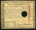 Colonial Notes:Massachusetts, Massachusetts May 5, 1780 $4 Hole Cancel About New.. ...