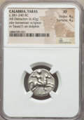 Ancients:Greek, Ancients: CALABRIA. Tarentum. Ca. 272-235 BC. AR stater or didrachm(6.43 gm). NGC XF 4/5 - 4/5....