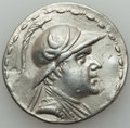 Ancients:Greek, Ancients: BACTRIAN KINGDOM. Eucratides I Megas (ca. 170-145 BC). ARtetradrachm (16.74 gm). About XF, wavy flan, scratches, punches....