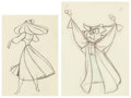 "Animation Art:Production Drawing, Sleeping Beauty Briar Rose and ""Mock Prince"" Owl AnimationDrawings Group of 2 (Walt Disney, 1959). . ... (Total: 2 )"
