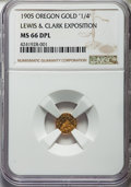 Western Souvenir Gold, 1905 25C Lewis & Clark Expo, Oregon Mountain Round Quarter,Gold X-Tn1, MS66 Deep Prooflike NGC. OMRQ-1, R.4. Plain edge, 1...