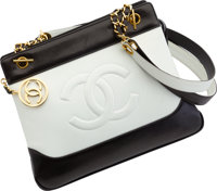 """Chanel Black & White Leather Tote Bag Very Good Condition 13"""" Width x 10"""" Height x 4"""" Depth"""