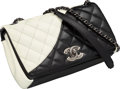 """Luxury Accessories:Bags, Chanel Black & White Quilted Lambskin Leather Flap Bag.Excellent Condition. 8.5"""" Width x 5.5"""" Height x 2.5"""" Depth...."""