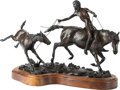 Sculpture, John 'Buck' Cheavens (American, 1938-2004). Leading a Frisky Colt, 1980. Bronze with brown patina. 12-1/2 inches (31.8 c...