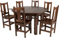 Furniture : American, A Limbert Brothers Arts & Crafts Oak Extension Dining Tablewith Six Chairs. 30 inches high x 48 inches diameter (76.2 x 121...(Total: 10 Items)