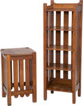 Furniture , A Stickley Quaint Oak Side Table and Bookcase. 46 h x 15-5/8 w x 12 d inches (116.8 x 39.7 x 30.5 cm) (taller, bookcase). 24... (Total: 2 Items)