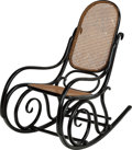 Furniture : Continental, A Michael Thonet for Gebruder Thonet Caned Rocking Chair. 41 h x 22w x 43 d inches (104.1 x 55.9 x 109.2 cm). PROPERTY FR...