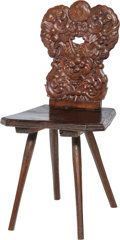 Furniture : Continental, A German Baroque-Style Carved Oak Country Board Chair, mid-late18th century. 37 h x 18-1/2 w x 16 d inches (94.0 x 47.0 x 4...