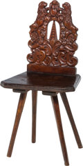 Furniture : Continental, A German Baroque-Style Carved Oak Country Board Chair, late18th-early 19th century. 36-1/2 h x 18-1/4 w x 15-1/2 d inches (...