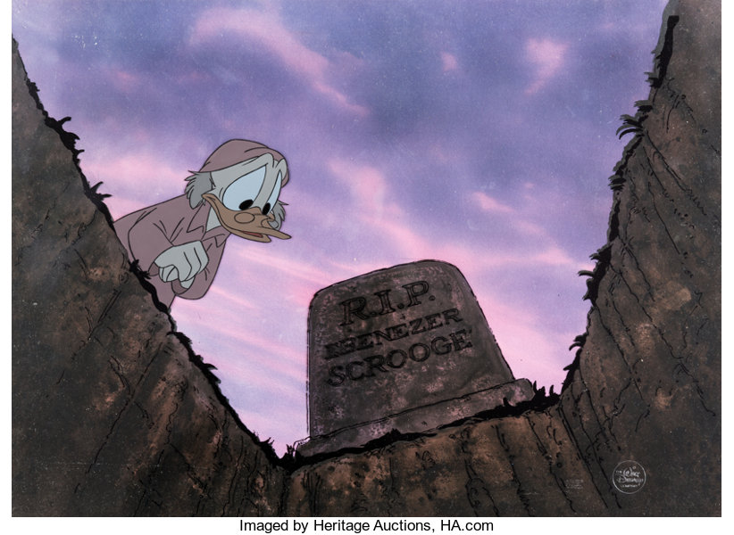 Scrooge Mcduck Christmas.Mickey S Christmas Carol Scrooge Mcduck Production Cel With