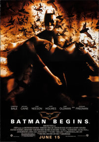 "Batman Begins (Warner Brothers, 2005). Vinyl Poster (47.5"" X 68.25""). Advanced DS. Action"