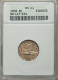 1858 1C Small Letters MS63 ANACS. NGC Census: (193/369). PCGS Population: (222/436). CDN: $1,050 Whsle. Bid for problem-...