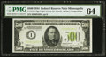 Fr. 2201-I $500 1934 Light Green Seal Federal Reserve Note. PMG Choice Uncirculated 64