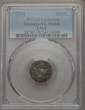 Early Half Dimes, 1794 H10C V-3, LM-3, R.4, -- Damage -- PCGS Genuine. VG Details NGCCensus: (0/5). PCGS Population: (0/1). Bid for problem-...