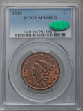 Large Cents, 1818 1C N-10, R.1, MS64 Red and Brown PCGS. CAC....