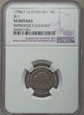 Early Dimes, 1798/97 10C 16 Stars Reverse, JR-1, R.3 -- Improperly Cleaned --NGC Details. VF....