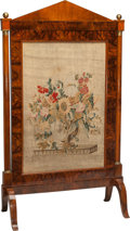 Furniture : Continental, A Neoclassical Biedermeier Fire Screen with Needlepoint Panel, 19thcentury. 56-1/2 h x 32-3/4 w x 16 d inches (143.5 x 83.2...