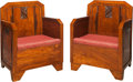 Furniture , A Pair of Belgian Art Deco Bergères. 33 h x 25 w x 23 d inches (83.8 x 63.5 x 58.4 cm). PROPERTY FROM THE RITTER ANTIK COL... (Total: 2 Items)