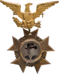 Political:Ferrotypes / Photo Badges (pre-1896), Horace Greeley: In-the-Hat Ferrotype Badge....