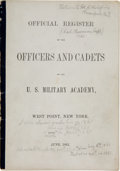 Military & Patriotic:Indian Wars, George Armstrong Custer: The Official Register for His 1861 West Point Class with Great Vintage Notations about Custer. ...