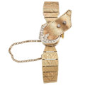 Estate Jewelry:Watches, Mathey Tissot Lady's Diamond, Gold Covered Dial Watch. ...
