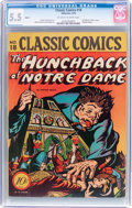 Golden Age (1938-1955):Classics Illustrated, Classic Comics #18 The Hunchback of Notre Dame - First Edition(Gilberton, 1944) CGC FN- 5.5 Off-white to white pages....