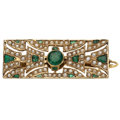 Estate Jewelry:Brooches - Pins, Emerald, Seed Pearl, Gold Brooch. ...