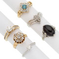 Estate Jewelry:Rings, Colored Diamond, Diamond, Garnet, Gold Rings . ... (Total: 6 Items)