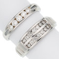 Estate Jewelry:Rings, Gentleman's Diamond, White Gold Rings. ... (Total: 2 Items)