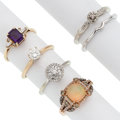 Estate Jewelry:Rings, Colored Diamond, Diamond, Multi-Stone, Gold Rings. ... (Total: 5Items)