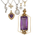 Estate Jewelry:Pendants and Lockets, Diamond, Amethyst, Cultured Pearl, Gold, Sterling Silver,Gold-Filled Pendant-Necklaces . ... (Total: 7 Items)