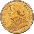Italy:Papal States, Italy: Papal States. Pius IX gold 100 Lire 1866-R Anno XXI MS61NGC,...
