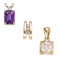 Diamond, Amethyst, Gold Pendants