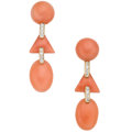 Estate Jewelry:Earrings, Coral, Diamond, Gold Earrings, Eli Frei. ...