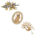 Estate Jewelry:Brooches - Pins, Diamond, Sapphire, Cultured Pearl, Gold Brooches. ... (Total: 3 Items)