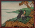 Fine Art - Painting, American, An American Folk Art Painting Depicting an Indian Maiden onHorseback in Carved Tramp Art Frame, probably Upstate New York, ...